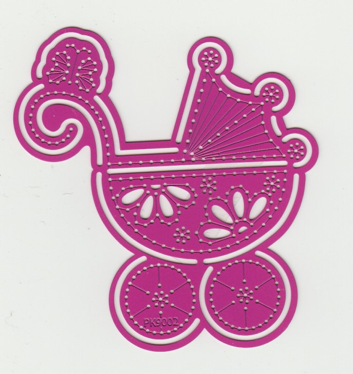 Pink Stencils Baby Carriage