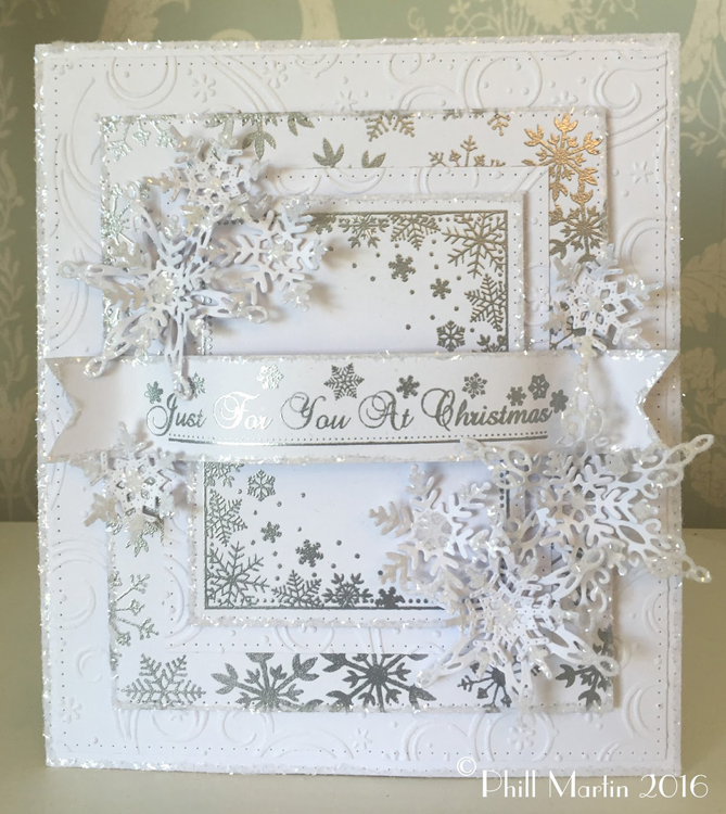 Phill Martin Snowflakes Large Rectangle Frame Stamp