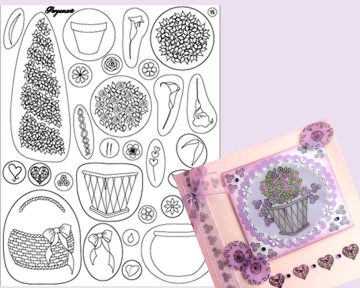 Pergamano Clear Stamps - Pots And Flowers