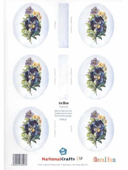National Crafts G18 Ice Blue Flowers - Oval