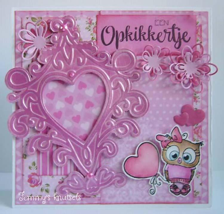 Nellie's Choice - Embossing/die Cut Folder Heart Swirls