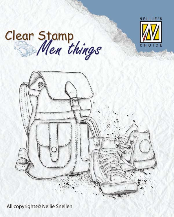Ecstasy Crafts Nellie's Choice Clear Stamp Men's Things - Backpack And Shoes