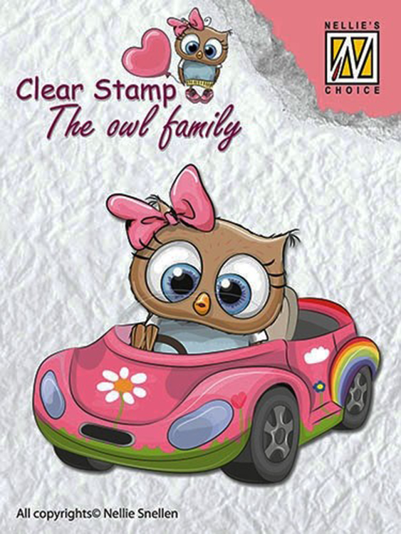 Ecstasy Crafts Nellie's Choice Clear Stamp The Owl Family - Family Car