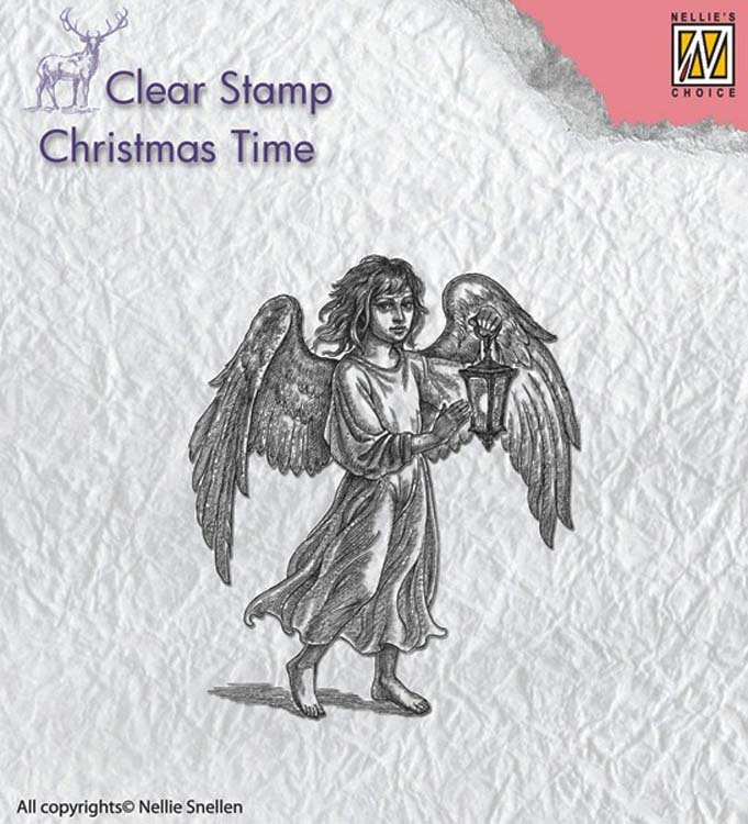 Ecstasy Crafts Nellie's Choice Clear Stamp Christmas Time - Angel With Lantern