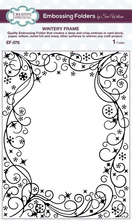 Ecstasy Crafts Creative Expressions Embossing Folder - Wintery Frame 5 3/4 X 7 1/2