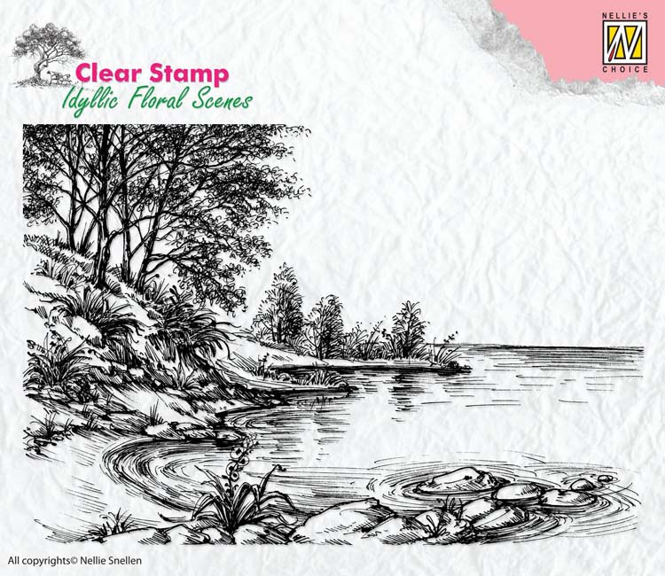 Ecstasy Crafts Nellie's Choice Clear Stamp Idyllic Floral Scenes - Water's Edge
