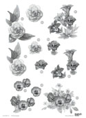 Floral -Assorted Flowers - Silver