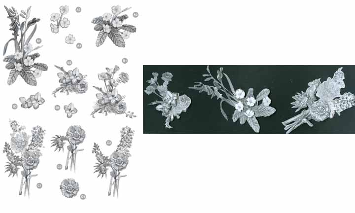 Floral -Flower Bunches - Silver