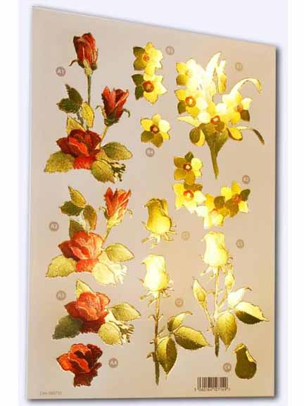 Ecstasy Crafts Craft Uk - Red Rose, Yellow Rose, Daffodils - Metallic