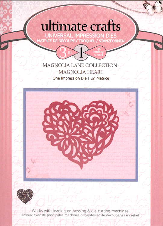 Ecstasy Crafts Couture Creations Impression Die - Magnolia Heart