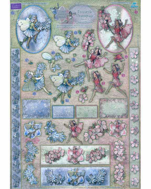 Metallic Precut Sheet -Flower Fairies Chicory & Almond Blossom