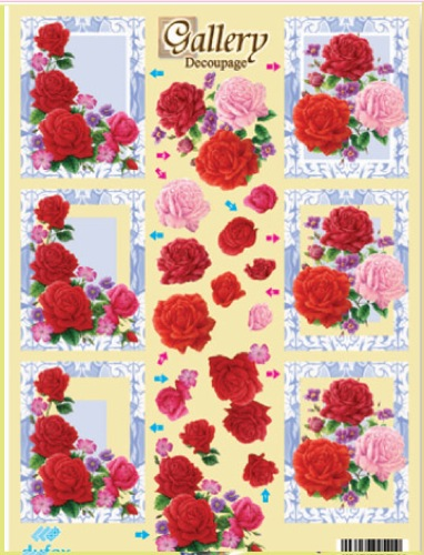 Metallic Precut 3D Sheet Gallery Of Roses