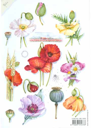 Ecstasy Crafts Decoupage Print- Poppies