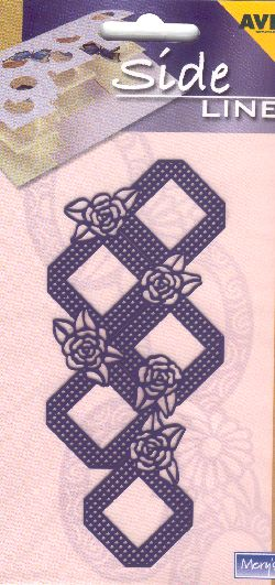 Ecstasy Crafts Sideline Embossing Stencil - Roses & Squares