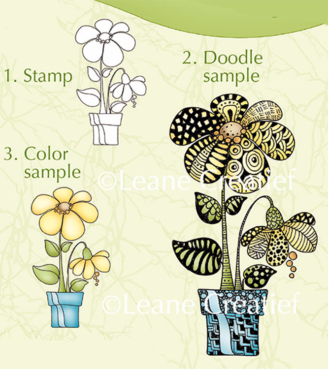 Lea'bilities Clear Stamp -  Doodle Stamp Flower Pot