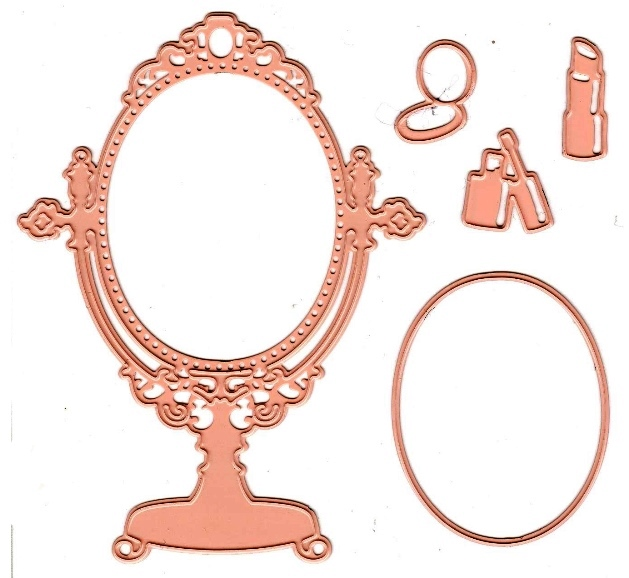 Cutting And Embossing Die - Vanity Mirror With Makeup (5Pc)