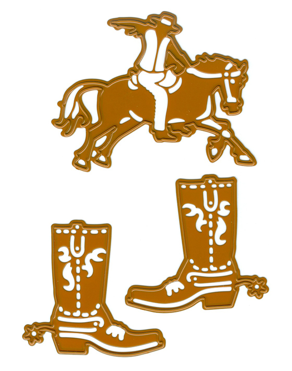Cutting And Embossing Die - Cowboy And Cowboy Boots (2Pc)