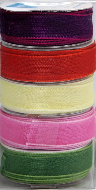 Ecstasy Crafts Organza 9Mm Ribbon -Box Of 5 -Spring Colours