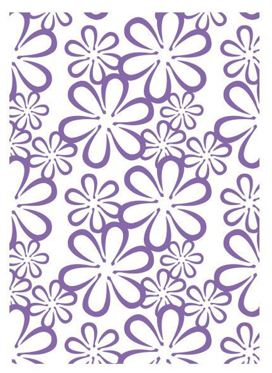 Ecstasy Crafts Couture Creations A2 Embossing Folders - Retro Flowers