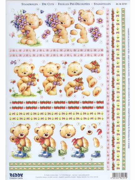 3D Precut Teddy Bears With Flowers And Strawberries