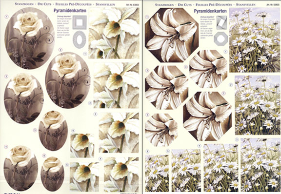 3D Precut - White Flowers - 2 Sheets