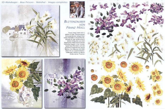 3D Precut (2 Sheets)franz Heigl Lily Bouquet, Sunflowers, Clematis