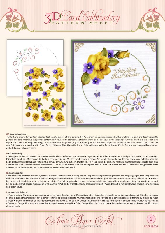 Ann Paper Embroidery Pattern - Yellow Rose