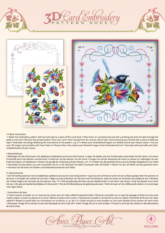 Ann Paper Embroidery Pattern - Morning Glory
