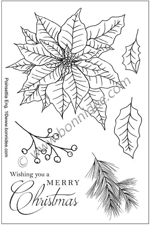 Ecstasy Crafts Bonnidee Stamps - Poinsettia 1 English