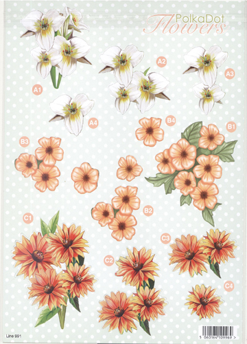 3D Precut Sheet - White And Orange Flowers