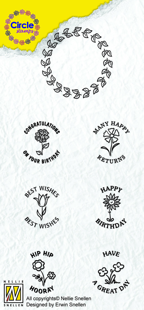 Ecstasy Crafts Circle Clear Stamp English Text - Congratulations