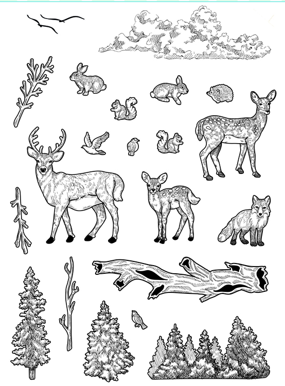 Ecstasy Crafts Creative Expressions - Forest Life Clear Stamp Set