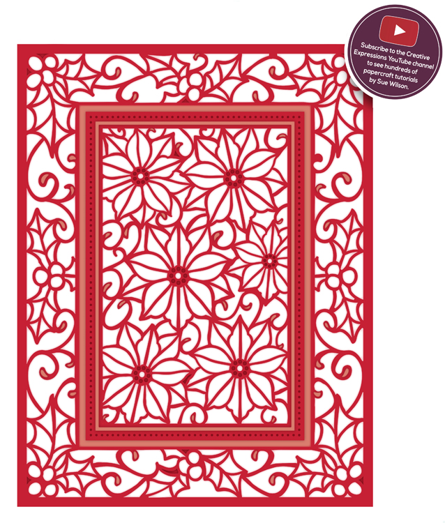 Ecstasy Crafts Festive Collection Poinsettia Mini Background