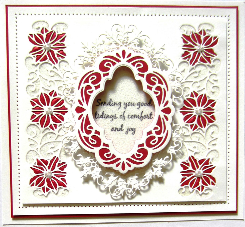 Ecstasy Crafts Festive Collection Poinsettia Filigree Frame
