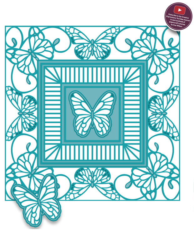 Ecstasy Crafts Background Collection Butterfly Frame Die