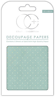 Creative Expressions Textured Blue With Gold Polka Decoupage Papers
