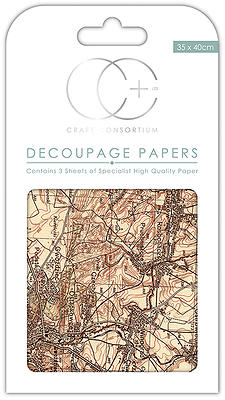 Creative Expressions Vintage Map 2 Decoupage Papers