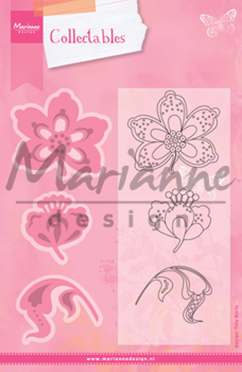 Ecstasy Crafts Marianne Design: Collectables Die & Stamp Set - Flower & Leaf 1
