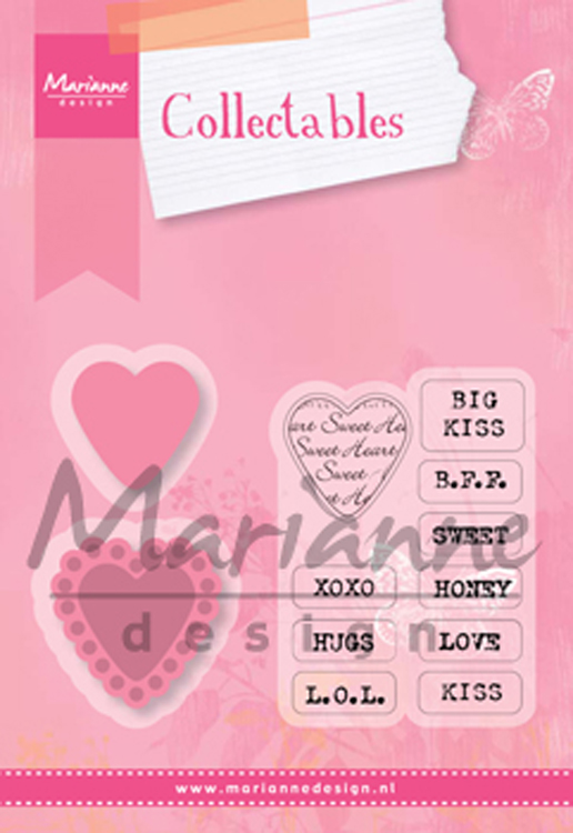 Ecstasy Crafts Marianne Design: Collectables Die & Stamp Set - Candy Hearts