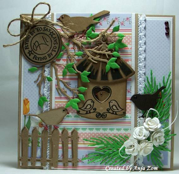 Ecstasy Crafts Collectable Dies/stamp Set - Birdhouse Birds