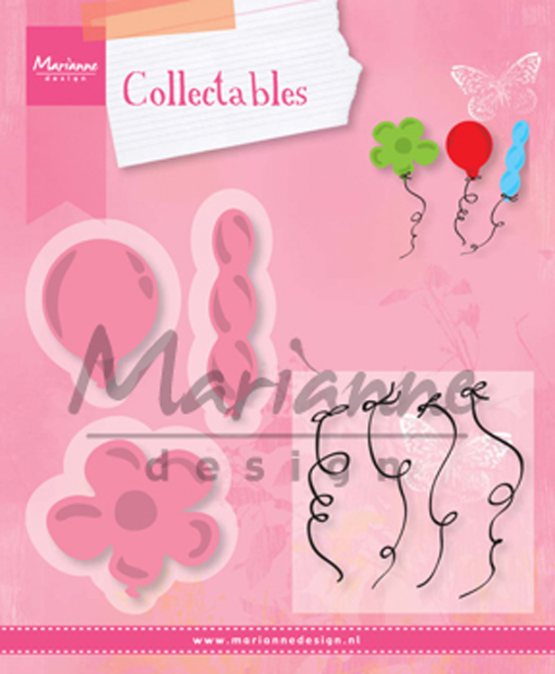 Ecstasy Crafts Marianne Design: Collectables Die & Stamp Set - Balloons