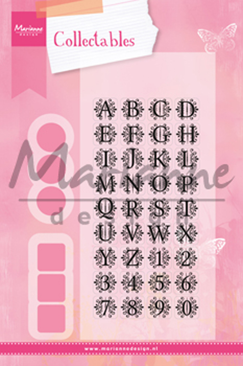 Ecstasy Crafts Marianne Design: Collectables Die Set - Vintage Alphabet Die & Stamp Set