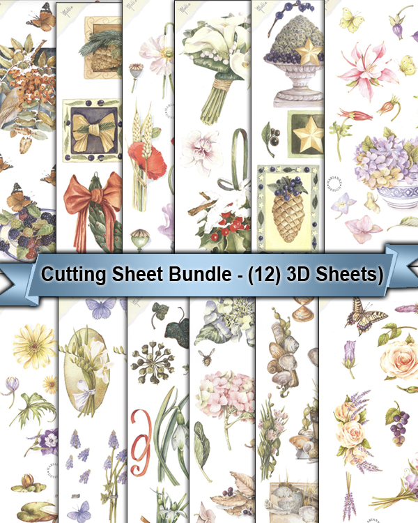 3D Cutting Sheets - Variety Of Flowers - (12 Sheets)