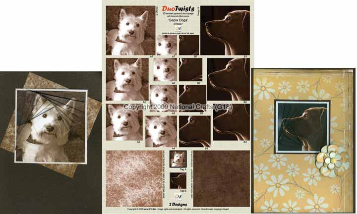 National Crafts G18 G18 - Duo Twist - Sepia Dogs