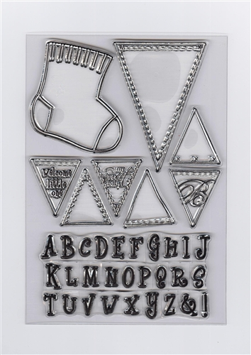 Ecstasy Crafts Clear Stamp - Baby Sock & Alphabet