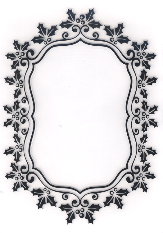 Ecstasy Crafts Embossing Folder -Christmas Oval Holly Frame