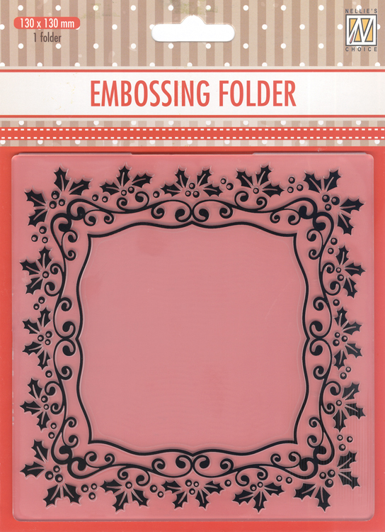 Ecstasy Crafts Embossing Folder -Christmas Rectangle Holly Frame