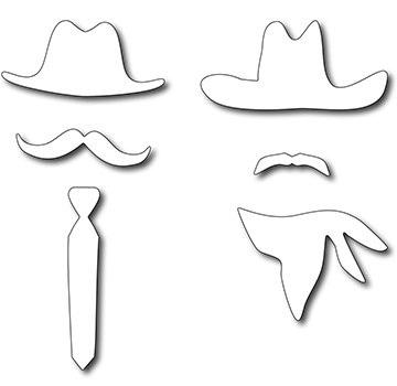 Precision Die - American Dads Hats & Mustaches (set Of 6 Dies)