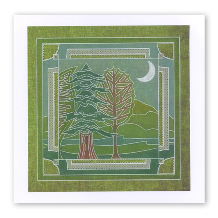 Groovi Abstract Trees (spruce) Plate A6 Sq