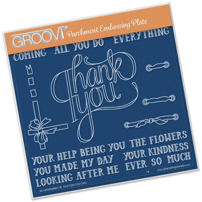 Groovi Thank You Ribbon A5 Sq